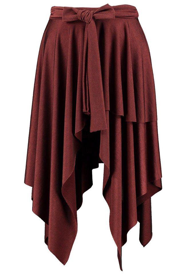 Damesmode, asymetrische midi rok Amanda Hanky met strik ceintuur  MEER  http://www.pops-fashion.com/?p=27414