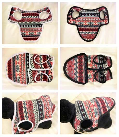 DIY Dog coats made from leftover fleece - there is a link to the pattern at Talking Tails...