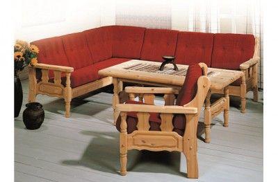 Furulux salong sofa couch kvande nordvik traditional norwegian cabin lodge furniture pine red www.helsetmobler.no