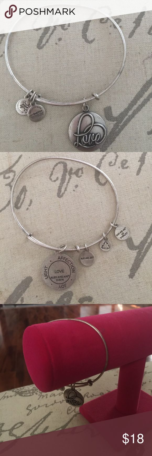 Alex & Ani bracelet Something we need now more than ever...Love. This bracelet will show the world that you support Love always. Show that someone that you love them or buy it for you as a symbol of self love. Alex & Ani Jewelry Bracelets