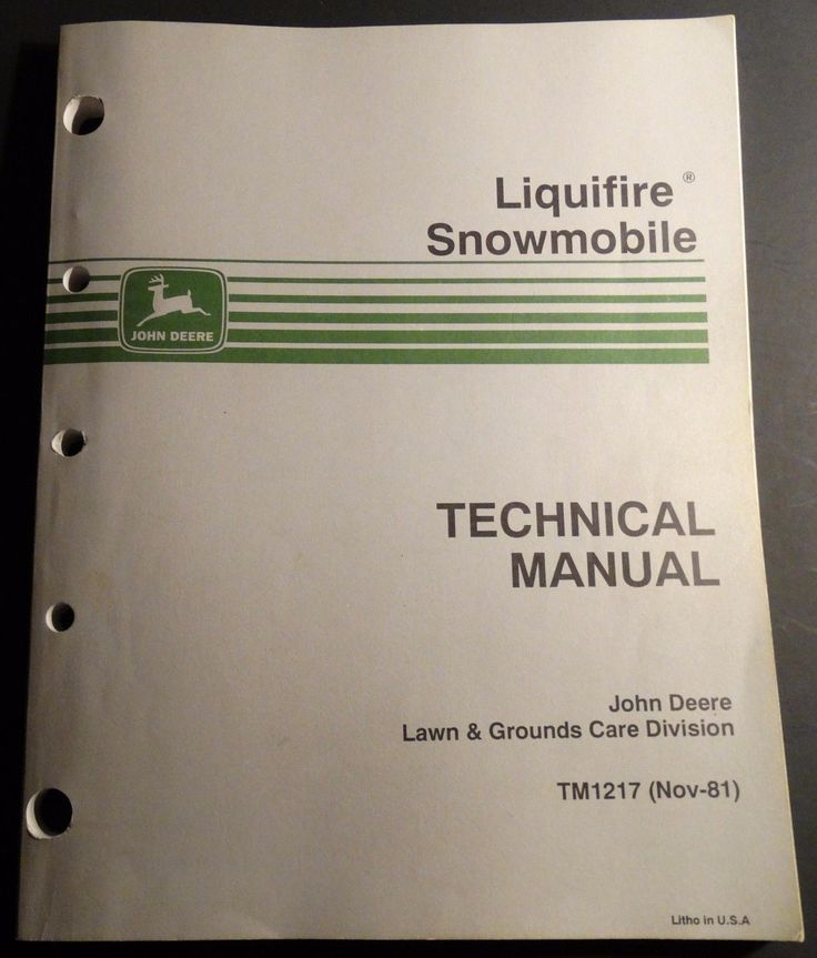 Manuals 26351: 1982 John Deere Liquifire Snowmobile Technical Service Manual Tm1217 (212) BUY IT NOW ONLY: $35.99