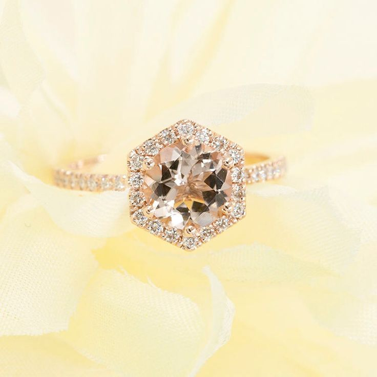 Rose Gold Engagement ring.Morganite Engagement Ring.Hexagon Morganite Ring 0.28Ct.F-G/VS High Quality Diamonds,AAA Quality Natural Morganite by DiamondFineJewelry on Etsy https://www.etsy.com/listing/473716728/rose-gold-engagement-ringmorganite