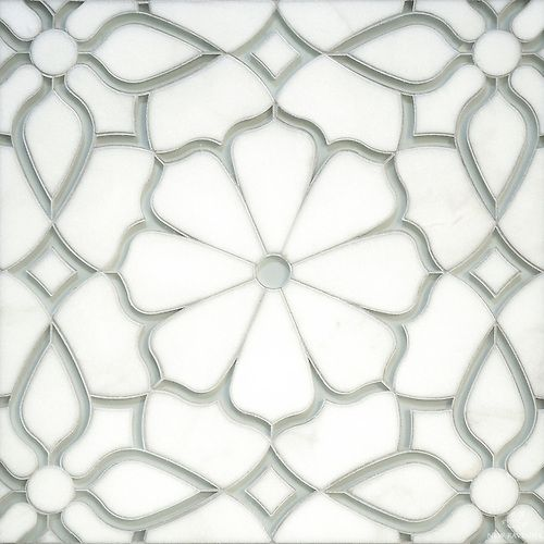 Estelle, a handmade mosaic shown in Venetian honed Calacatta Gold and Weathered White glass   Parterre Collection   Designed by Sara Baldwin Designs for New Ravenna