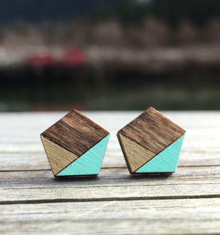 Geometric earrings. Laser cut wood pentagon studs. Wooden Stud Earrings. Gold and Turquoise earrings. Dark Walnut Studs