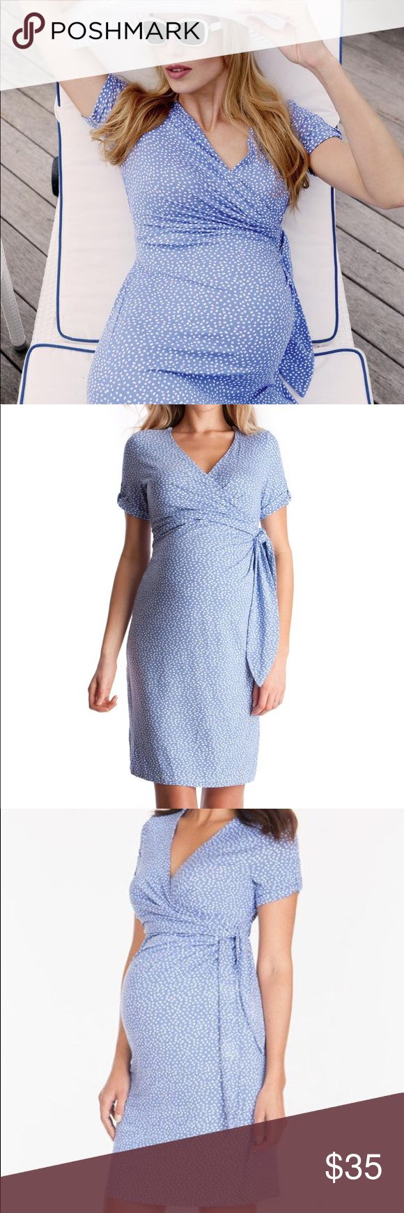 "Seraphine Baby Blue polka dot maternity dress sz 8 Seraphine maternity (and nursing) dress  ""fashionably pregnant"" At Seraphine, our maternity dresses are designed to fit, flatter and grow with your pregnancy curves; providing the perfect drape for before, during and after your nine months. Size 8 Baby blue polka dot   Crossover v neckline for nursing Soft stretch jersey Above the knee 95% viscose, 5% elastane  Condition: like new,  no visible signs of wear Seraphine Dresses Midi"