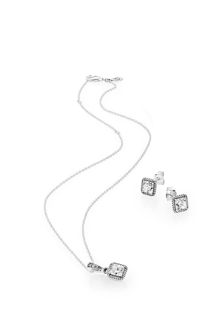 Sophisticated and timeless, these pieces will infuse any bridal look with a touch of glamour. #PANDORA #PANDORAnecklace #PANDORAearrings
