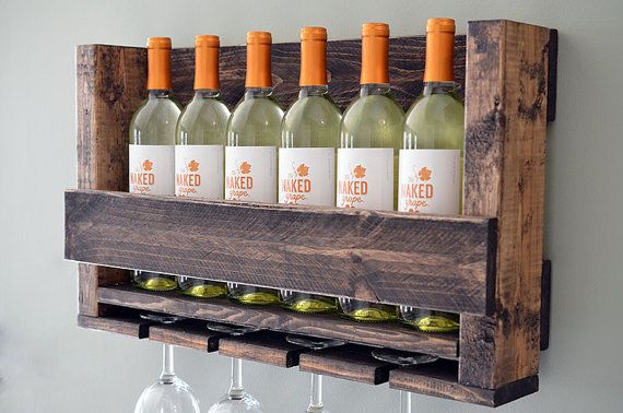 READY TO SHIP  20% OFF LIMITED TIME ONLY USE COUPON CODE: SAVE20  HANDMADE IN THE USA  Wine Holder + Wine Glass Holder  Wall-mounted It has