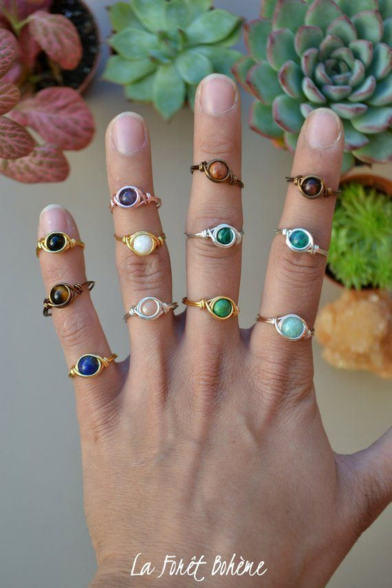 Handmade wire wrap ring Black Tourmaline Ring Moonstone ring Delicate ring Small wire wrap Crystal bead ring Rose quartz gemstone ring