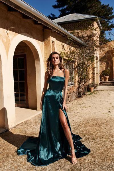A & N Bianca – Blaugrünes Satinkleid mit Schlitz vorne und Schnürung hinten – A & N Luxe Label – Dresses
