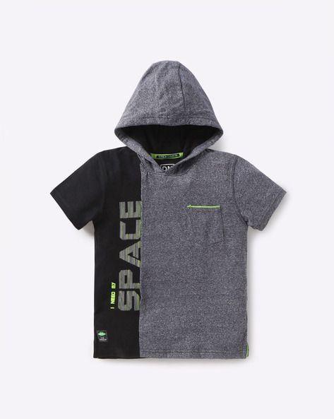 63728ace5ec2 Buy YB DNMX Boys Grey Colourblock Hooded T-shirt