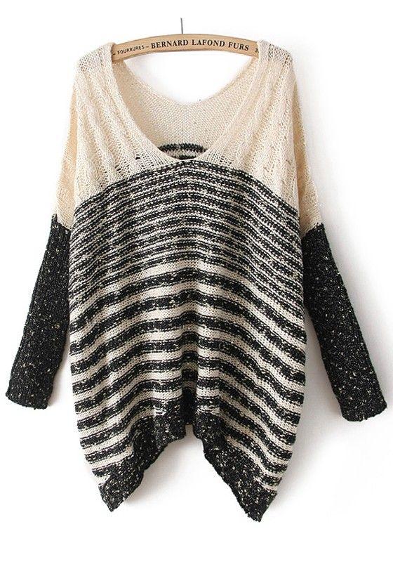 CiChic.com Beige Bright Wire Striped V-neck Cotton Blend Sweater