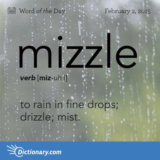 mizzle  to rain in fine drops  drizzle  mist