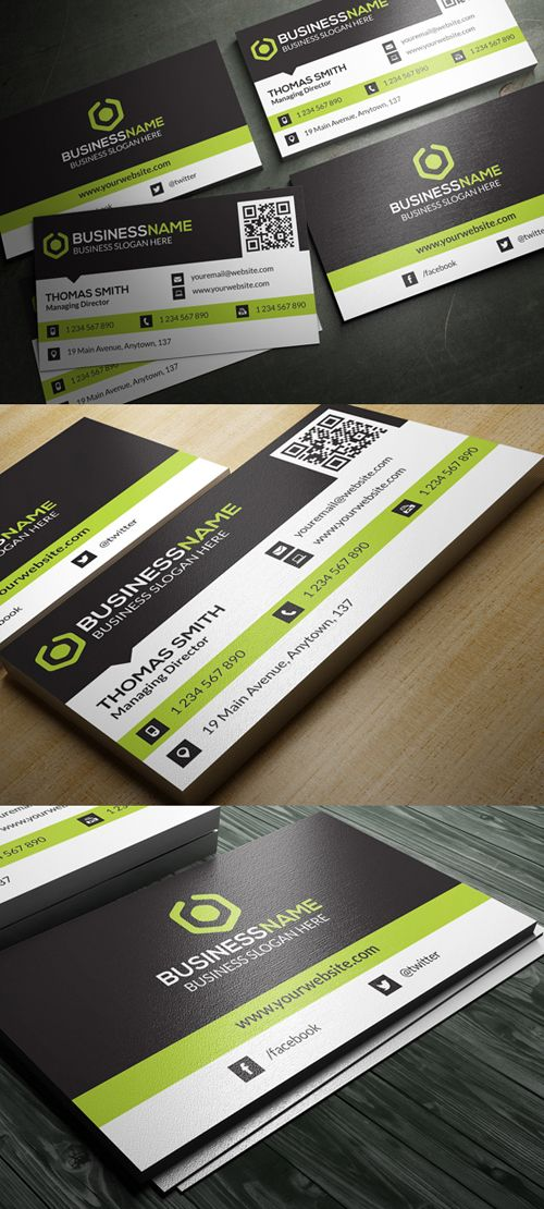 Corporate Business Card Template #businesscards #psdtemplates #printready