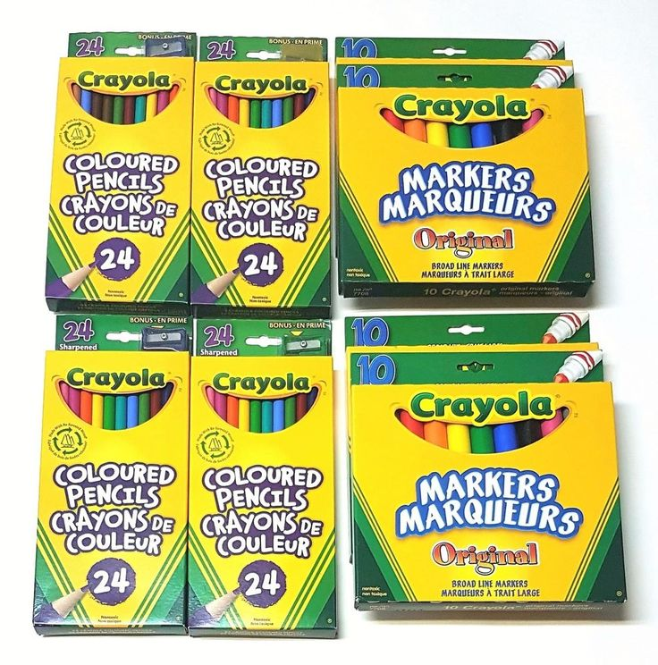 Lot of 8 Crayola Child Kids  Writing/Colouring Utencils Markers, Pencil Crayons | eBay