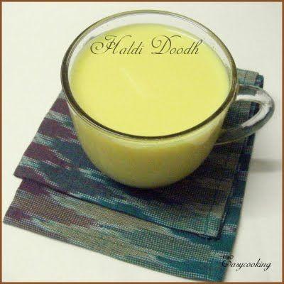 Haldi Doodh/Turmeric Milk ~   Milk – 1 cup  Honey – 1 tbsp  Peppercorns – 2-3,crushed  Cardamom – 1,seeds crushed  Haldi/Turmeric – ½ tsp