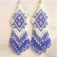 Seed Bead Earrings (ER 108)  #beadwork