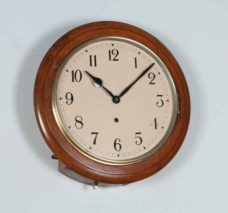 """Antique 15"""" Mahogany Anglo Swiss Railway Station / School Round Dial Wall Clock (Timepiece) by YolaGrayAntiques on Etsy"""