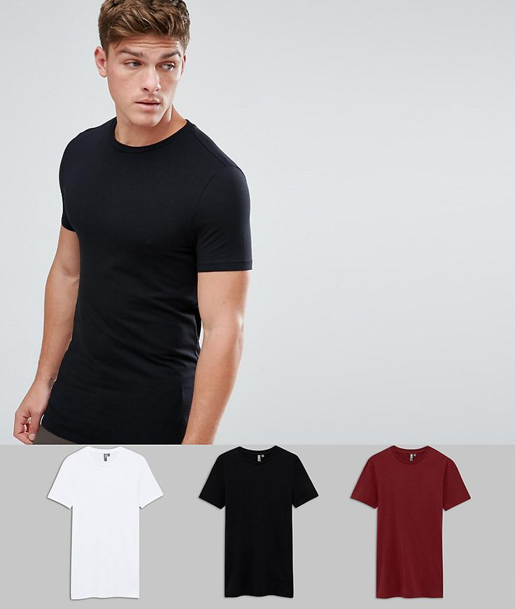 ASOS Longline Muscle Fit T-Shirt With Crew Neck 3 Pack - Multi