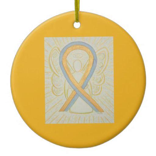 Gray and Gold Awareness Ribbon Angel Ornaments