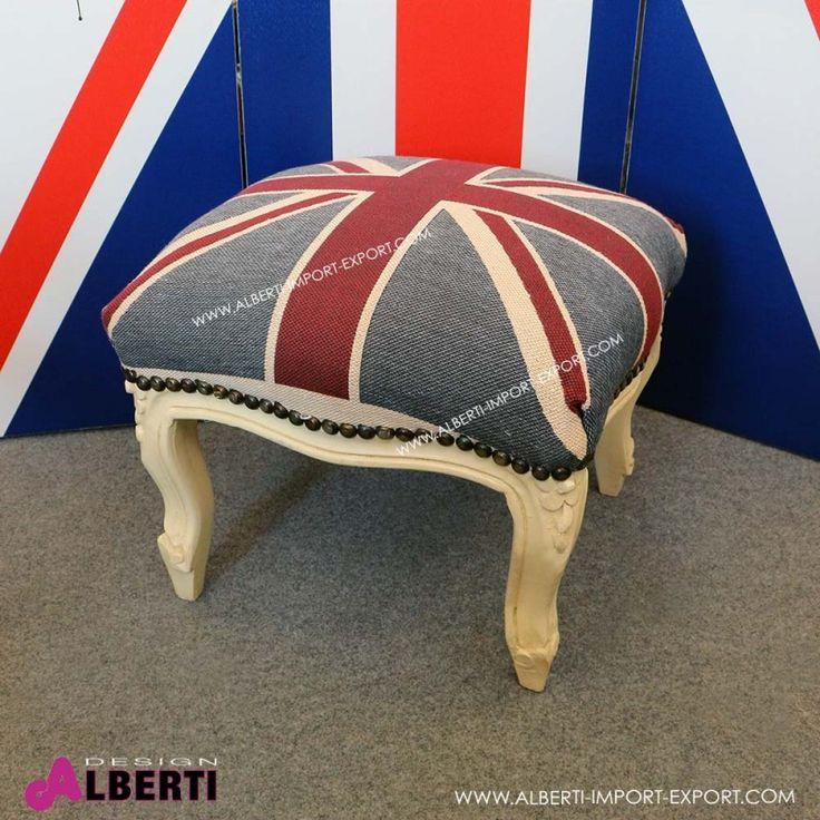 Pouf Oslo barocco con tessuto bandiera inglese crem 40x40x35 Pouf o appoggia piedi in stile barocco colore crema con tessuto inglese effetto jeans
