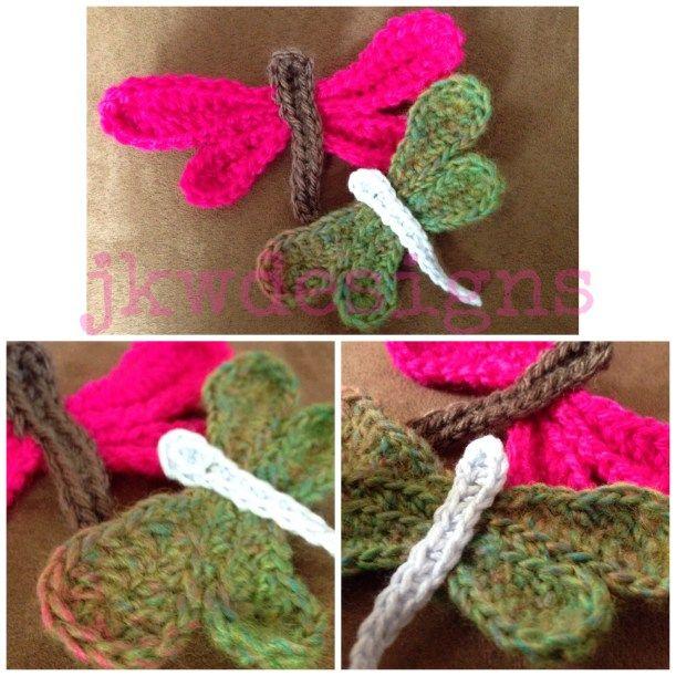 crochet dragonfly applique, free pattern
