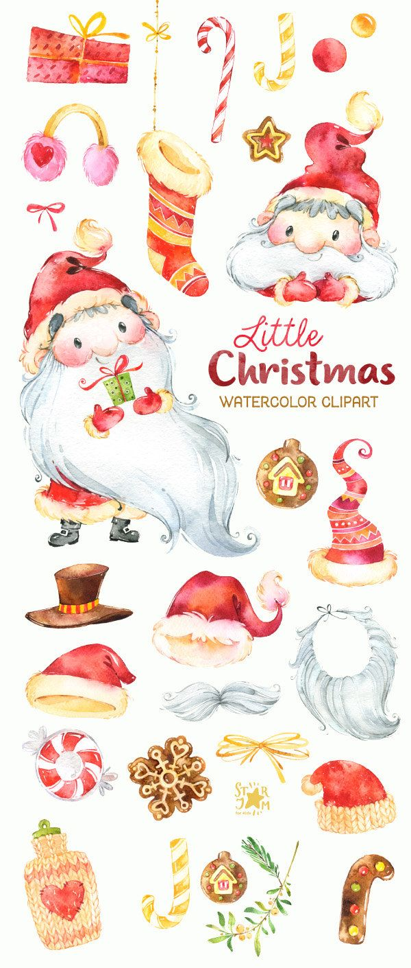 Little Christmas. Clipart dell'acquerello Babbo Natale
