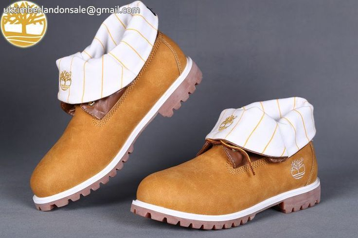 Custom Helcor Fabric Wheat-White Roll Top Timberland Men Boots $90.99