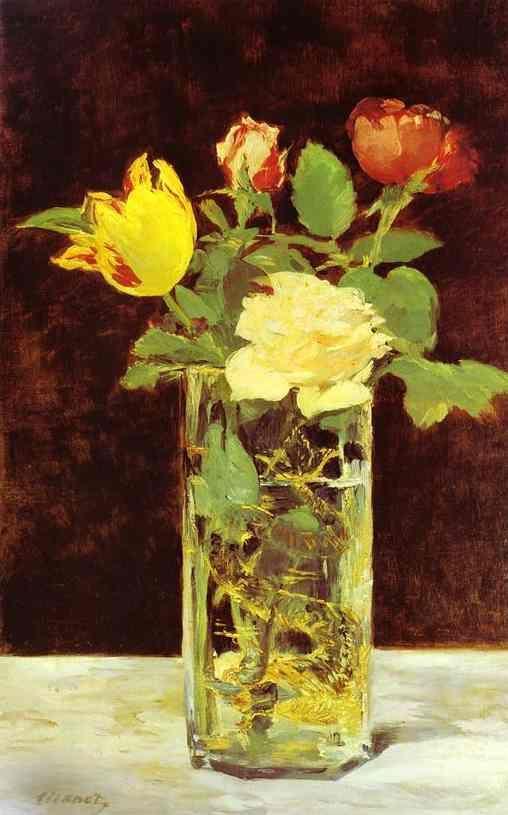 edouard manet roses et tulipes | Edouard Manet >> Roses et Tulipes dans un Vase | (huile, reproduction ...