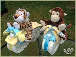DIY How to Make a Motorcycle Diaper Cake #babyshower