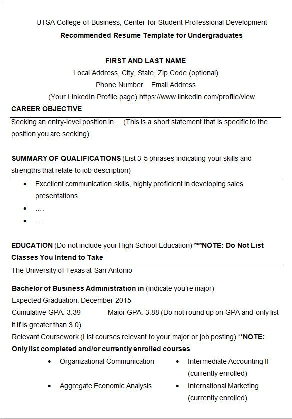 Free Resume Templates For University Students Freeresumetemplates