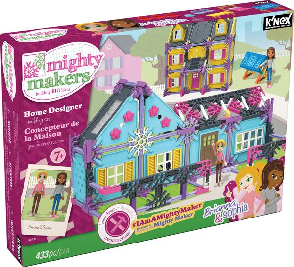K'NEX Mighty Makers Home Designer Building Set - Build your dream house from the ground up with Brianna and Sophia in the Home Designer™ Building Set. Sophia loves building, while Brianna helps with the finishing touches of the interior. These best friends are a dynamic duo when it comes to building and decorating houses. Help them build different styles of houses - a colonial, a brownstone, and a ranch.