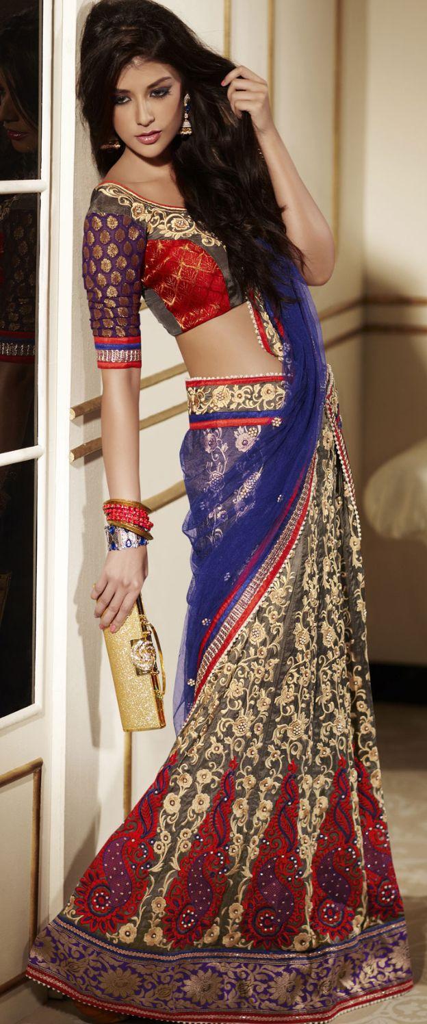 Gorgeous traditional design on this modern rendition saree! Lehenga style saree