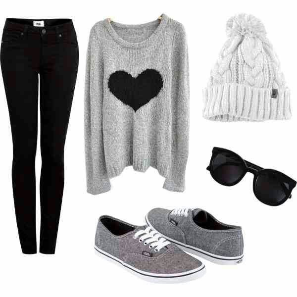 black skinny jeans | heart knit sweater | grey keds | black sunglasses