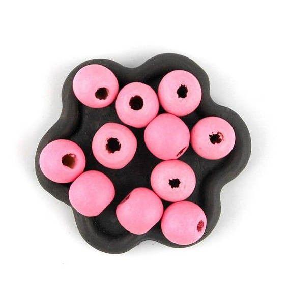 x50 Perle en bois rose vif 10mm