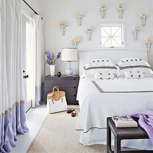 Purple banded drapes