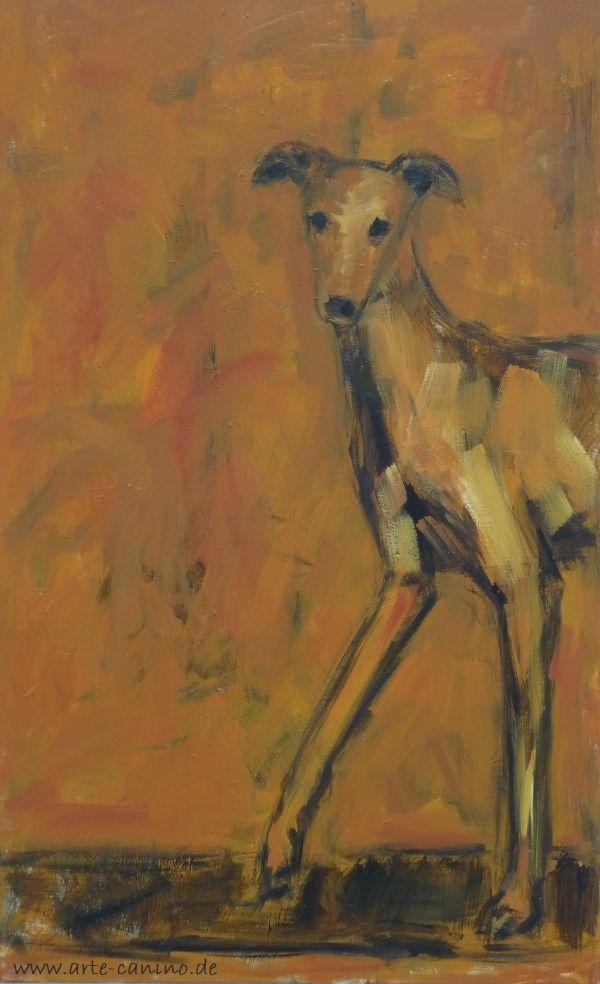Spanish Greyhound, galgo), acrylic on canvas, 104 x 65 cm