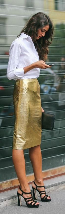 Gold Pencil Skirt + White Button-Up
