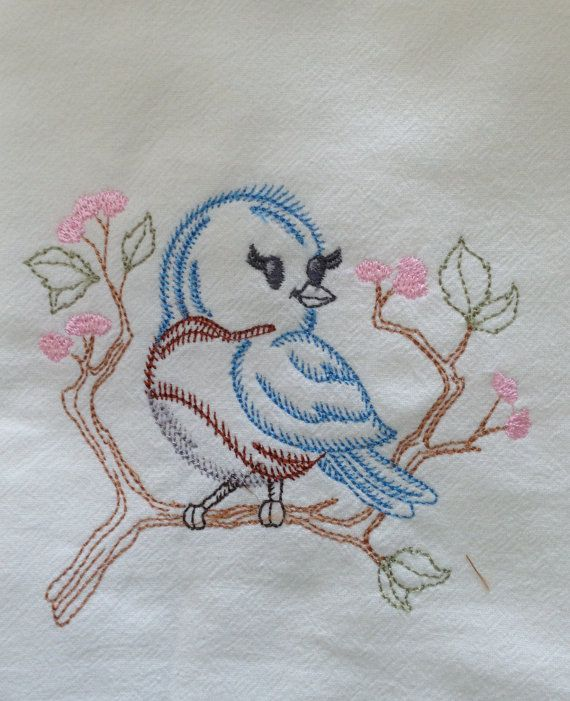 "Large 30"" x 30"" Bluebird Vintage Design Embroidered Flour Sack Kitchen Towel"