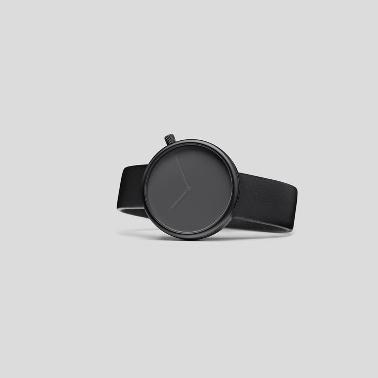 MATTE-BLACK STEEL ON BLACK, ITALIAN LEATHER.  Following the slightly asymmetric Pebble and the clean and contemporary Facette, the circular, minimalist Ore watch reduces timekeeping to its pure essence.