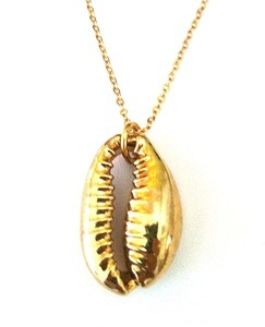 Gold Dipped Cowrie Shell Necklace