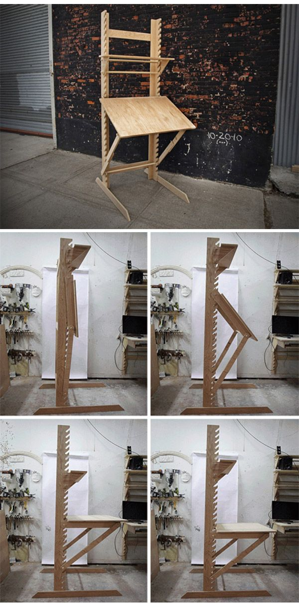 Transforming  Frey  Desk is Four Pieces of Furniture in One   standard  desk  drafting table  standing desk  art easel. 25  best ideas about Transforming Furniture on Pinterest   Modern