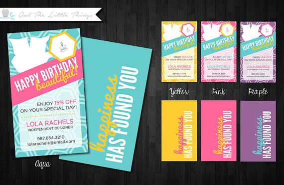 Custom Vertical Birthday Reward Charm Cards for Direct Sellers - Digital Download Print Yourself