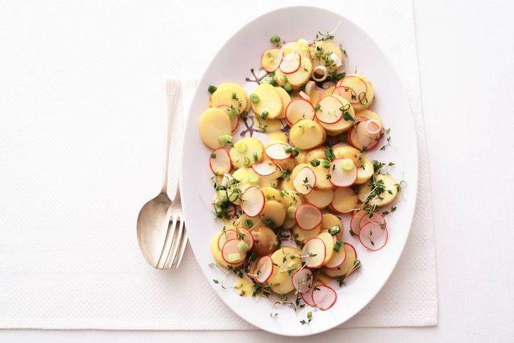 Kijk wat een lekker recept ik heb gevonden op Allerhande! Aardappelsalade en radijs en tuinkers