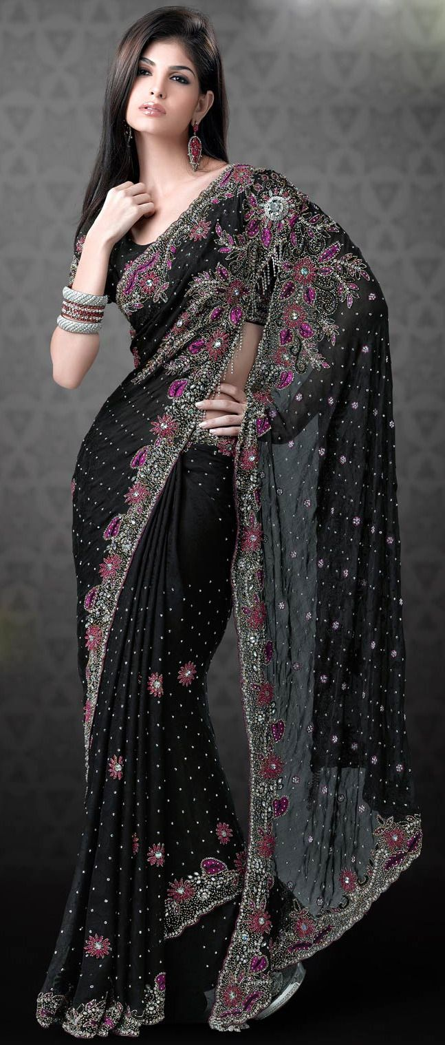 #Black Faux #Georgette #Saree with Blouse @ $ 388.70