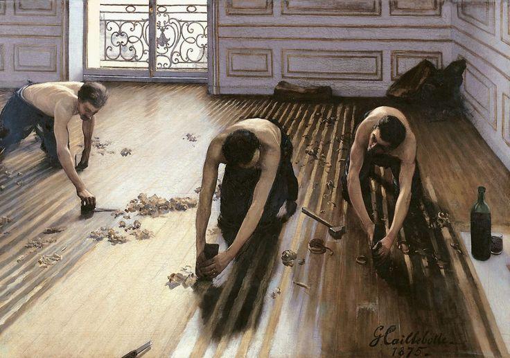 Les raboteurs de parquet The Floor Scrapers Los acuchilladores de parqué Gustave Caillebotte 1875 huile sur toile 102 × 146.5 cm Musée d'Orsay, Paris: