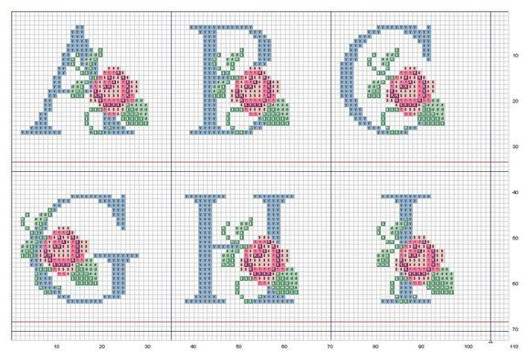 Ponto-Cruz-Abecedário-Rosas-ABCGHI.jpg (576×385)