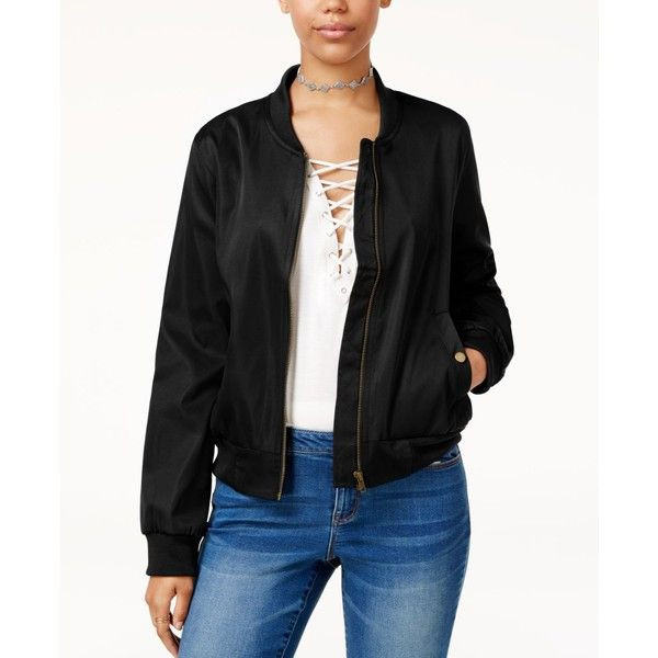 Hippie Rose Juniors' Bomber Jacket ($30) ❤ liked on Polyvore featuring outerwear, jackets, black, sporty jacket, bomber jackets, bomber style jacket, blouson jacket and retro bomber jacket