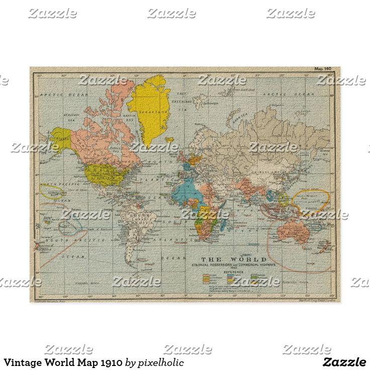Mejores 357 imgenes de gift ideas en pinterest vintage world map 1910 gumiabroncs Image collections