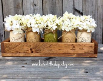 Custom Made Rustic Planter Box with 5 Painted Mason Jars. Painted Mason Jars. Rustic Home Decor.