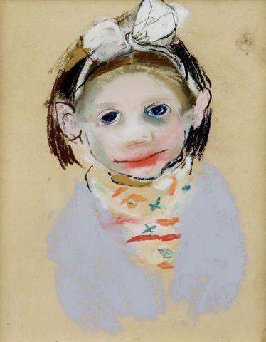 Joan Eardley RSA (1921-1963) Girl with a ribbon 26 x 21cm (10 1/4 x 8 1/4ins)